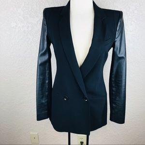 BCBG Maxazria jacket w black faux leather contrast